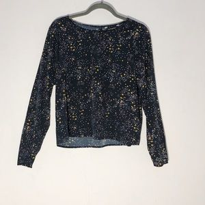 BANANA REPUBLIC NAVY BLOUSE WITH COLORED STARS